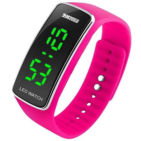 el más nuevo 8a3c9 a1de8 Panegy - Reloj Digital Resistente al Agua de Estilo Deportivo Silicona con  LED para Niños-Color Rosado