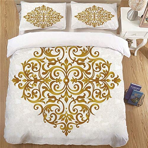 Bedding Set with Pillow Shams,Full Size,3 Piece Soft Kids Bedding Sets Gold Mandala Victorian Style Traditional Filigree Inspired Royal Oriental Classic Print Decorative Gold White ()