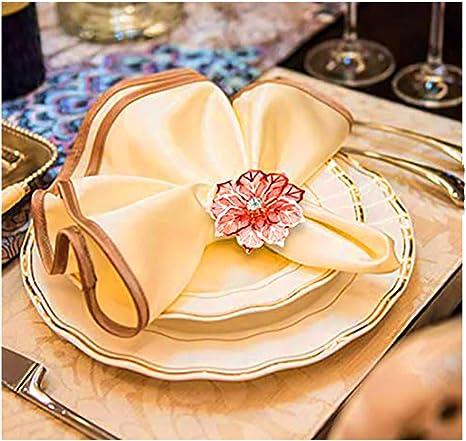 12 piezas de servilletero de metal con hebilla para la decoraci/ón de la mesa de la cena del banquete de boda Anillo de servilleta Servilletero flor-dorado