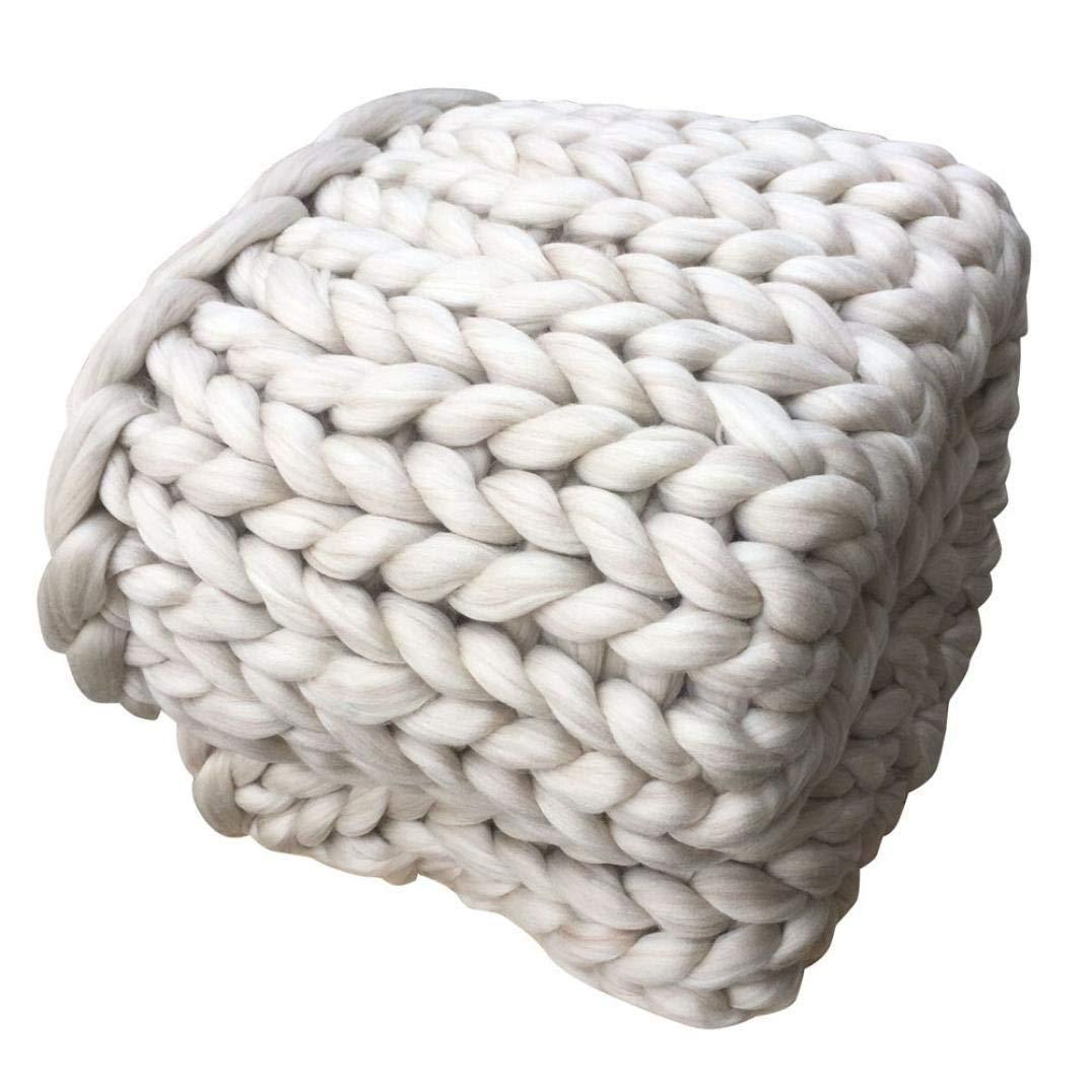 LINLIN Grobwolle Hand Gewebte Decke Stricken Woolen Thick Throw Sofa,Weiß,200  200Cm