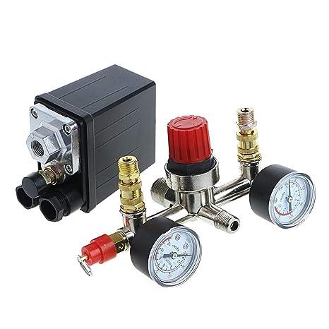 BIlinli REGULADOR Heavy Duty Compresor de Aire Control de presión de la Bomba Interruptor + Calibrador