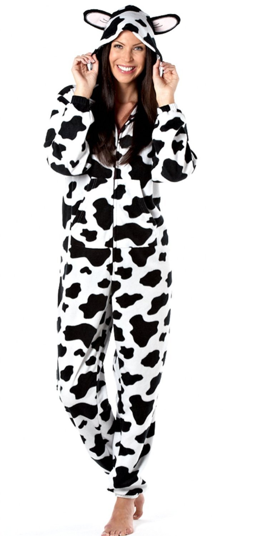 Ladies Animal Zip Through All in One Soft Fleece Hooded Onesie Jumpsuit, Romper Pyjamas with Ears LN000395