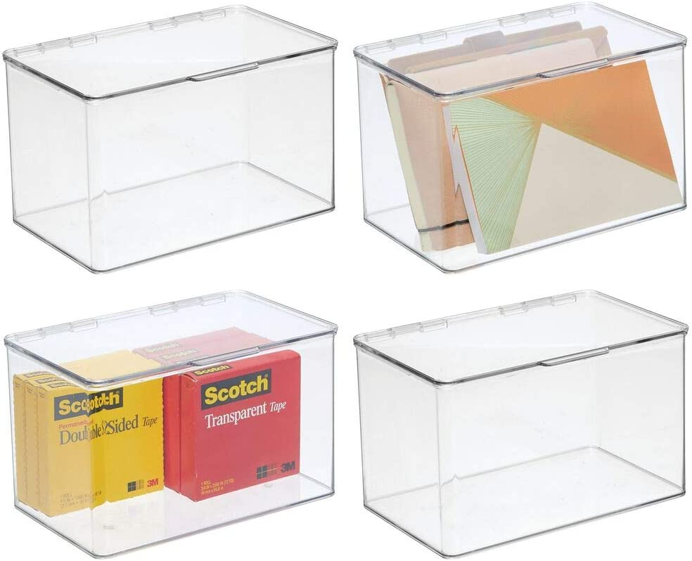 mDesign Plastic Stackable Box Home, Office Supplies Storage Organizer Box with Attached Lid - Holder Container for Note Pads, Gel Pens, Staples, Dry Erase Markers, Tape, 4 Pack - Clear