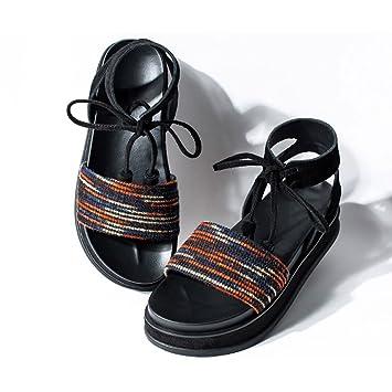 Chaussures Forme Talon Plate Été Mi Écolière Retro Sandales lF3KTcJ1