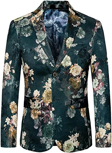 Men's Vintage Floral Slim Separate Jacket Blazer Suit Sport Coat, Green, L/42 = Tag (Two Button Vintage Blazer)