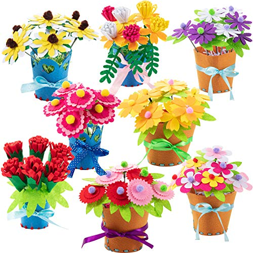 meekoo 4 Sets Flower DIY Craft Kit for Kids Teacher Gift Bouquet Crafts Kits on Mother's Day or Teachers' Day (Style B)