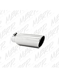 "MBRP T5150 4"" O.D. 2.5"" Inlet 12"" Length T304 Stainless Steel Angled Cut Rolled End Clampless Exhaust Tip"
