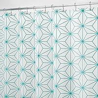 mDesign rideau de douche en PEVA – accessoire de salle de bain pour la douche – rideau de bain et douche avec motif géométrique – blanc/turquoise