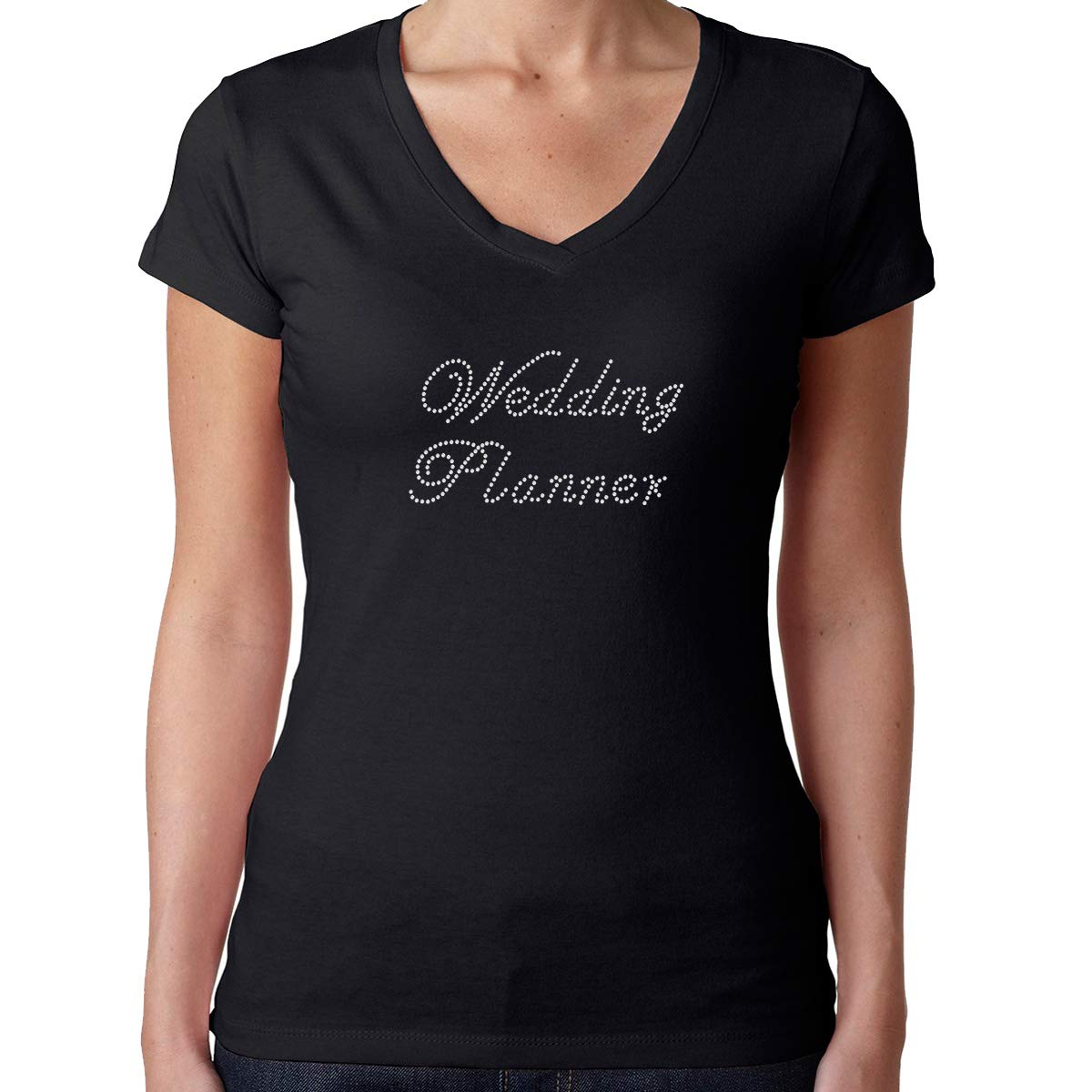 Womens T-Shirt Rhinestone Bling Black Tee Wedding Planner Script V-Neck Medium