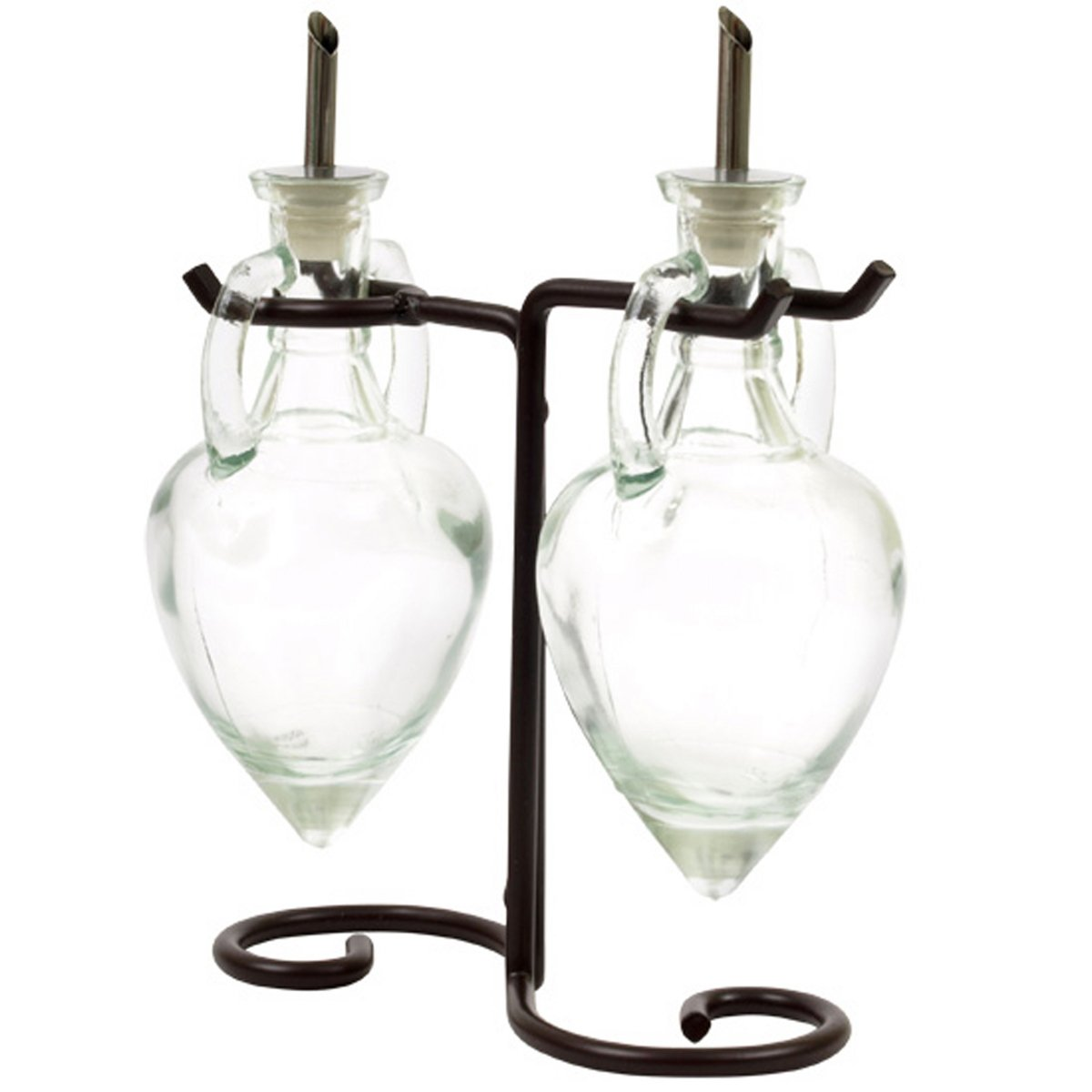 Clear G223VF Olive Oil Vinegar Dish Wash Soap Dispensers, Decorative Colored Glass Cruet Bottles with Cork, Spout and Black Metal Stand. Romantic Decor & More