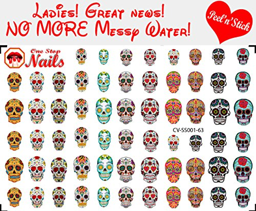 Sugar Skull, Dia de los Muertos clear vinyl PEEL and STICK nail decals (NOT WATERSLIDE). Set of 63 by One Stop Nails CV-SS001-63