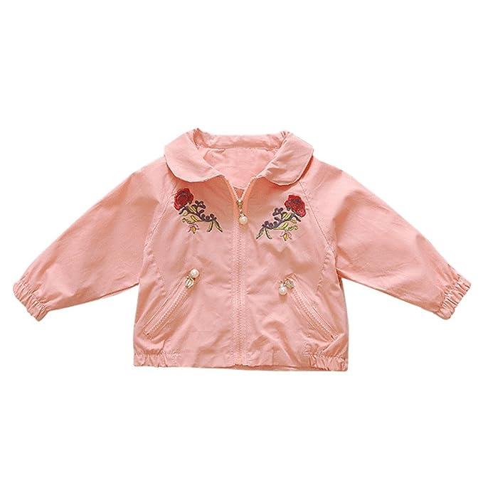 Bebé recien nacido Rosa bordado perla cadena bolsillo abrigo ...