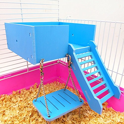 Wooden Platform,hamster Swing Ladder Set for Mouse, Chinchilla, Rat, Gerbil and Dwarf Hamster,Climbing Kits for Small Animals (Blue)