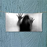 SCOCICI1588 microfiber towel Silhouette of Woman behind the Veil Scared to Death Obscured Paranormal Gray High Absorbency L35.4 x W11.8 INCH