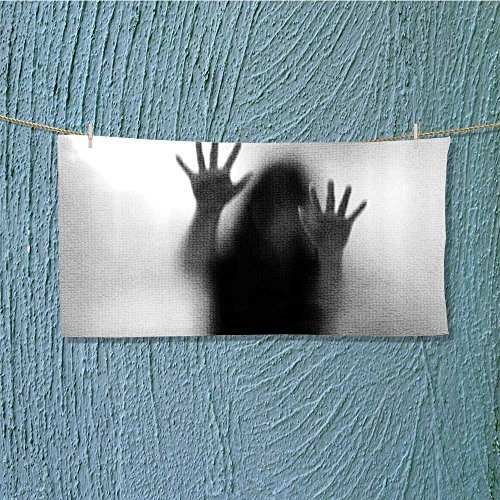 SCOCICI1588 microfiber towel Silhouette of Woman behind the Veil Scared to Death Obscured Paranormal Gray High Absorbency L35.4 x W11.8 INCH by SCOCICI1588
