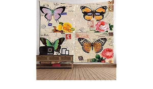 Tapiz De Decoración Para El Hogar Manta Vintage Floral Butterfly Art Print Fabric Mural Tapiz Decoración Dormitorio Dormitorio Drew Cortinas Por RLF.