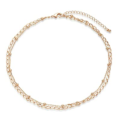 efd1dc7dcd115 Hiyong Dainty Gold Star Choker Necklace - 18K Gold Fill Satellite Layering  Chain Choker with Boho Handmade Bead for Women Girls