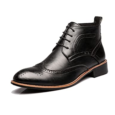 XHD- Classic Shoes Fashion Mens Brogue Shoes Lace Up Breathable Oxfords High Top Ankle Boots