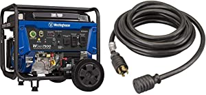Westinghouse WGen7500 Portable Generator with Remote Electric Start - 7500 Rated Watts & 9500 Peak Watts & Reliance Controls PC3020 PC3020K Generator Power Cord, Black