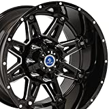 20x12 Wheels Fit 6 Lug GM Trucks - Black Rim w/Mach'd Fac...