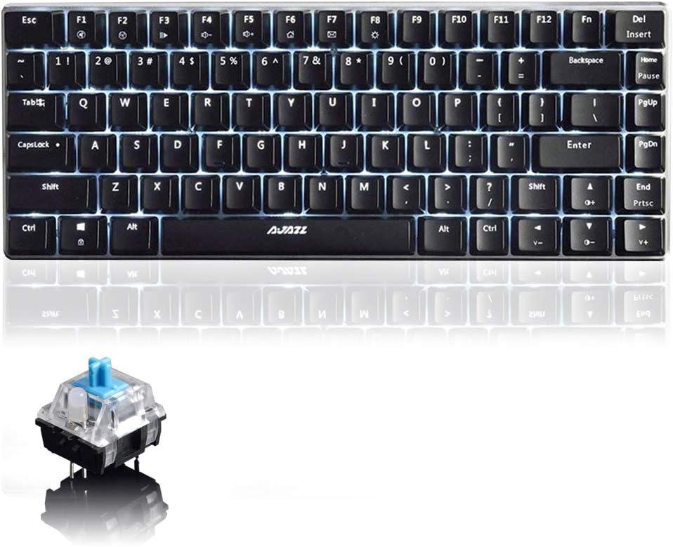 Teclado mecánico AK33 de Lexon Tech, Teclado para Juegos con Cable USB con retroiluminación LED Azul, Teclado compactos de 82 Teclas, interruptores Azul Negro, mecanógrafos y Jugadores de Juegos