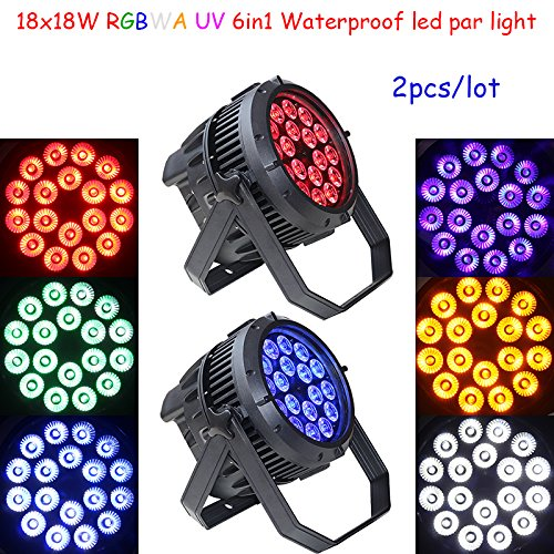 Shipping from US 2pcs 18x18W outdoor RGBWA UV 6in1 led par light waterproof led par can light for outdoor church wedding