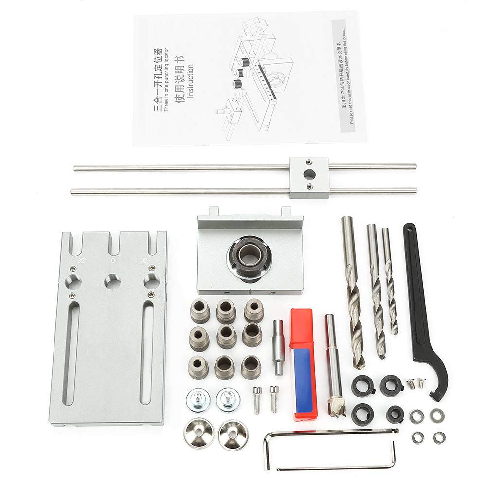 Drill Locator Kit, 6/8/10/15Mm Adjustable Durable Self Centering Dowelling Jig Woodworking Drill Guide Locator Kit by Aufee