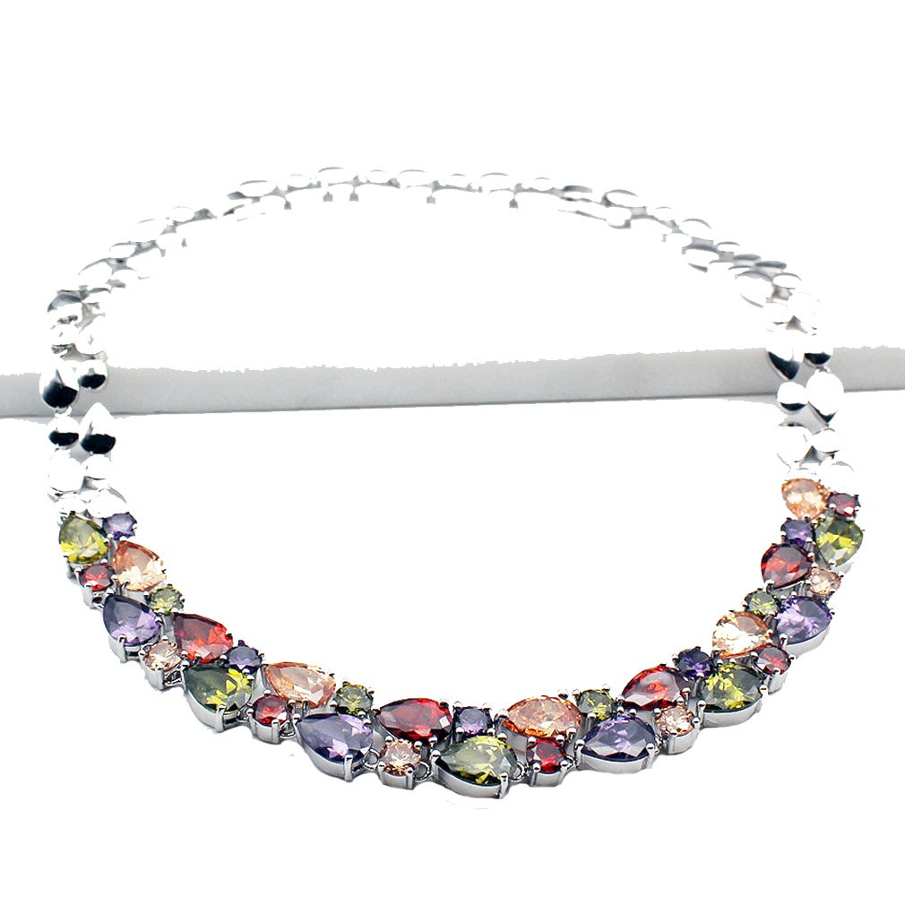 Classic Multi Gemstones Silver Sets, Amethyst Garnet Morganite Peridot (Necklace)