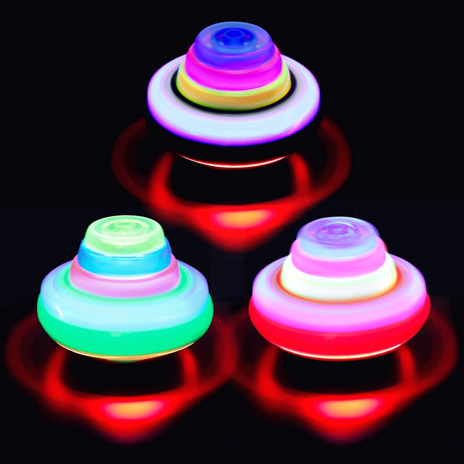PROLOSO Spinning Top with Lights /& Music Light Up Peg Tops LED Spin Toys Gyroscope Flashing Spinner Party Favors Pack of 12