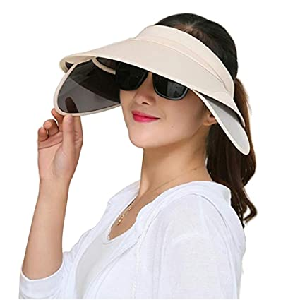 Amazon.com  VORCOOL Summer Sun Visor Hats UV Protection Wide Large Brim  Beach Cap Empty Top Hat (Beige)  Sports   Outdoors 11b17a2bb0d