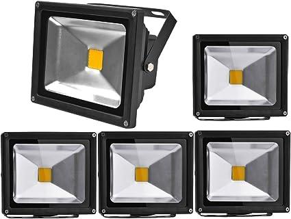 PACK 5 Floodlight LED Foco Proyector LED 20W para Exterior Iluminación Decoración 6000K Luz Frio Impermeable IP65 Negro: Amazon.es: Iluminación