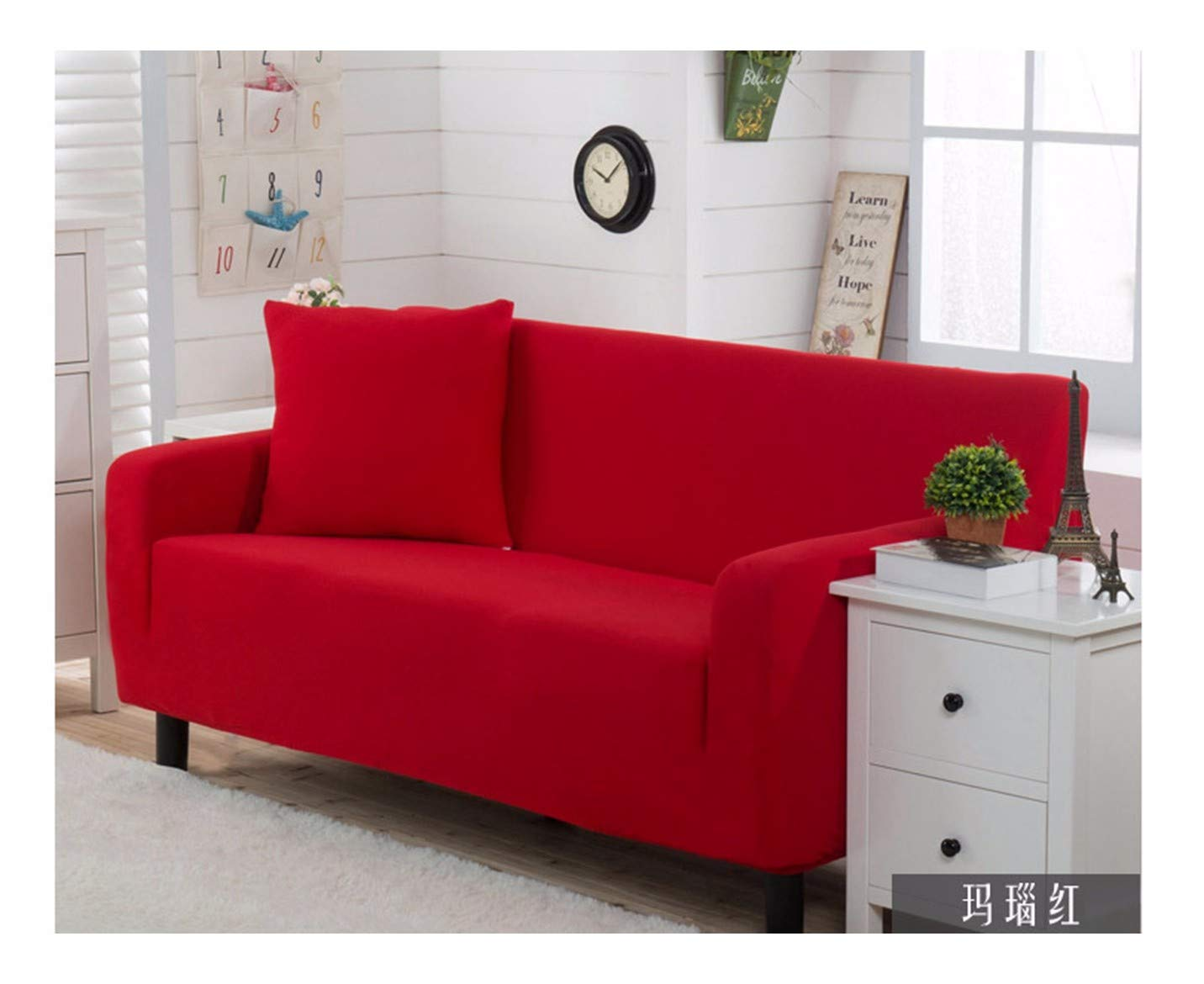 3seat VGUYFUYH Red Thickened Knitted Sofa Cover Polyester Full Package Elasticity Home Universal Sofa Cover Simple Fashion One Set Durable Dust-Proof Pet Dog Predective Cover,3Seat