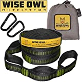 Wise Owl Outfitters Talon Hammock Straps - Combined 20 Ft Long, 38 Loops W/2 Carabiners - Easily Adjustable, Tree Friendly Must Have Gear For Camping Hammocks Like Eno Green Stitching