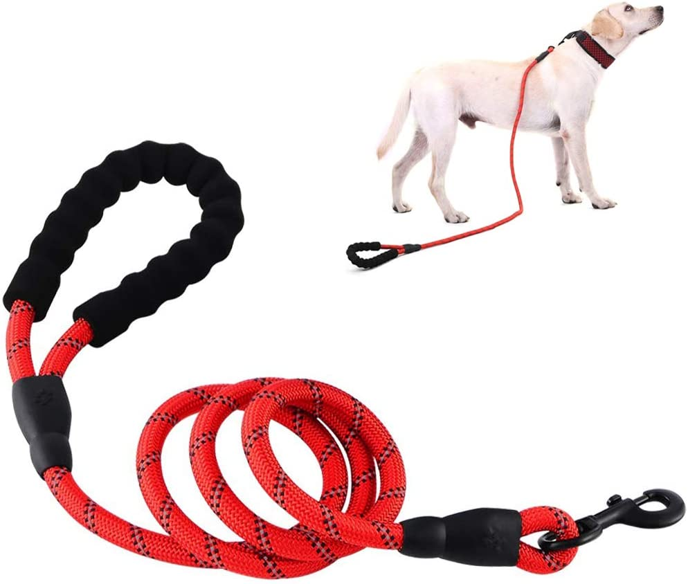 NightGhost Rope Dog Lead with Soft Padded Handle and High Reflective Threads Red 5FT Durable Rope Twist Lead in Small Medium Large Dogs