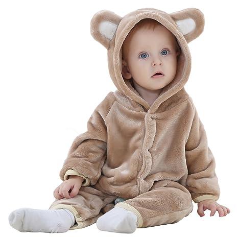 8c57b1fa1130e Y-BOA Combinaison Pyjama Bébé Enfant Forme Animal Hiver Trousse Bébé à  Capuche Mignon Brun