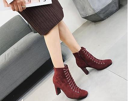 Beauqueen Botines de Invierno para Mujer Zapatos Antideslizantes de tacón Alto Zapatos de Punta Cuadrada (