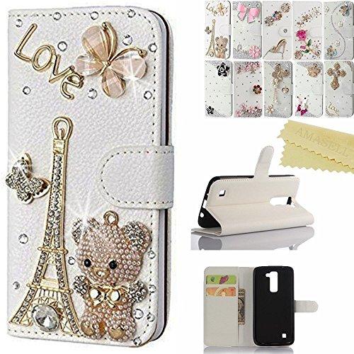 LG K10 case, AMASELL Handmade Bling Crystal Diamond Leather Wallet Stand Case for LG K10/ LG K420N Case, Bear Tower ()