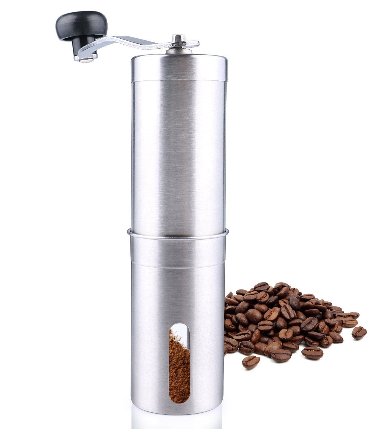 SYDLIFE Manual Coffee Grinder Stainless Steel Coffee Maker with Ceramic Conical Burr Mill, Portable Adjustable Hand Coffee Machine