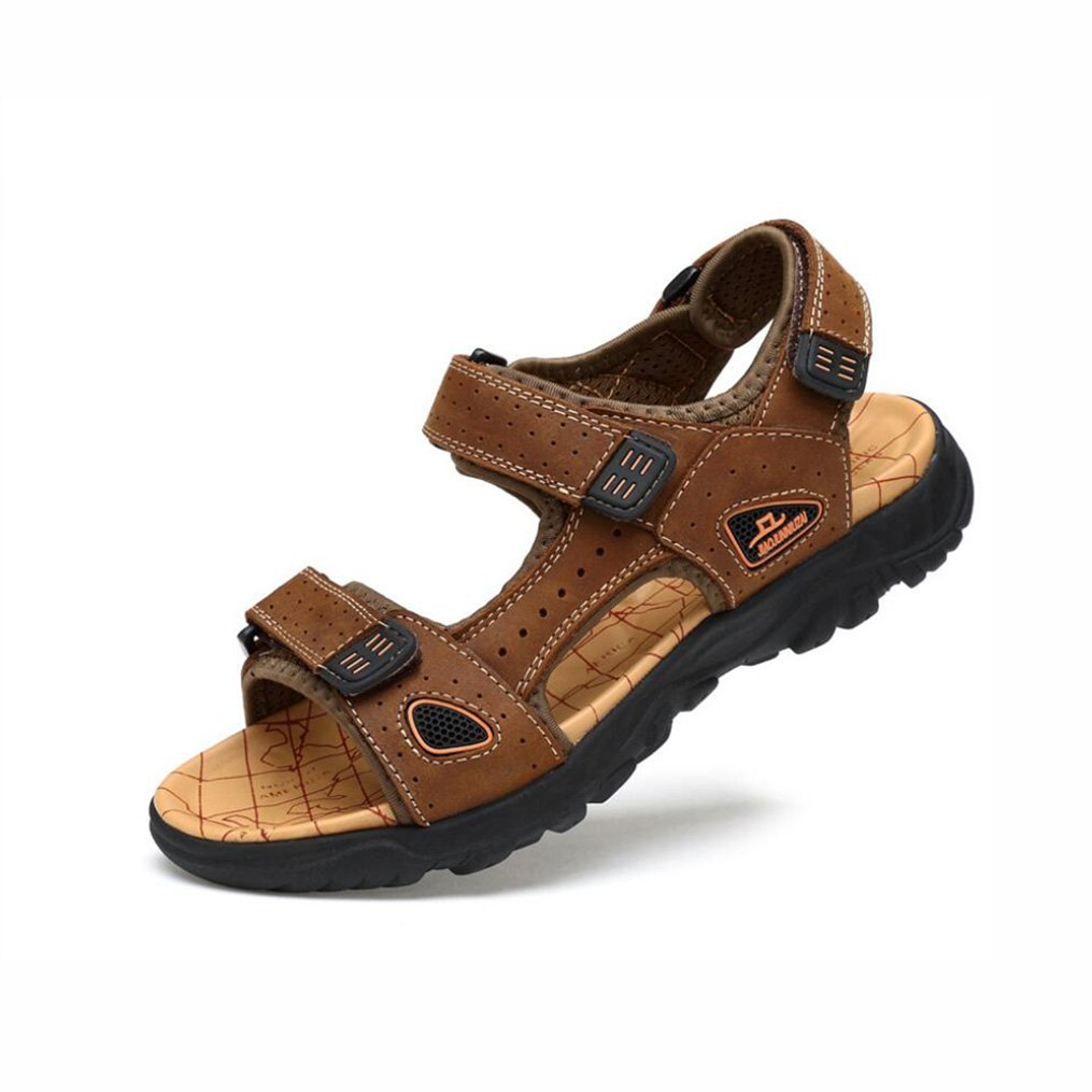 YaXuan Herren Ledersandalen Outdoor Wandern Walking Trekking Schuhe Sommer Sport Sportliche Schuhe Offene Spitze Gladiator Strand Sandalen Rutschfeste Freizeitschuhe (Farbe : 1  Größe : 45)1