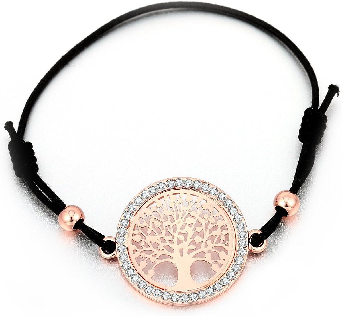 Pulsera para mujer, diseño de árbol de la vida celta para niñas, color negro ajustable con cristal