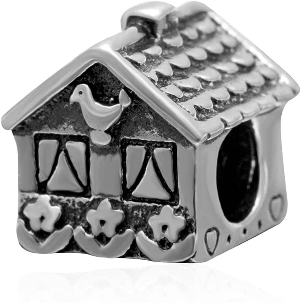 Fit DIY Charms Home Sweet Home Charm - Antique 925 Sterling Silver Bead - European Bracelet Jewelry