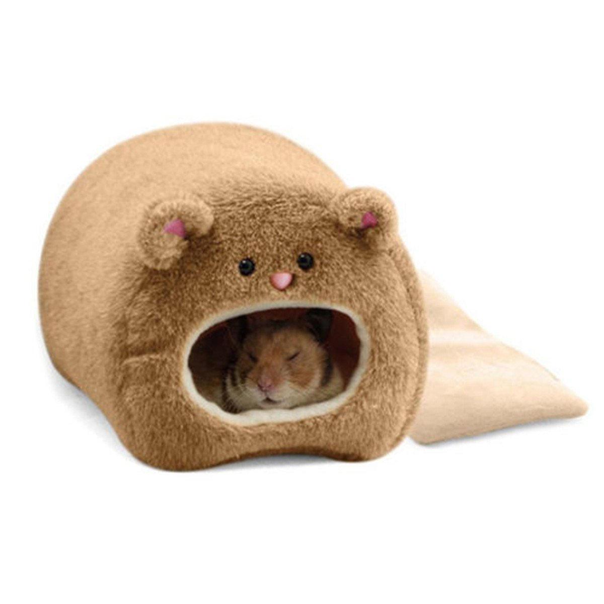 CH Cartoon Hamster Bed Small Animal Cat Bed House Winter Warm Squirrel Hedgehog Chinchilla House Cage Nest (Coffee)