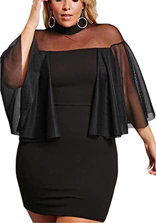 49cfa4a68256d Women Black Ruffle Tulle 3 4 Sleeve Mesh Mock Neck Bodycon Plus Size Semi-