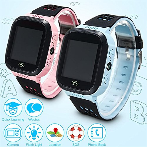 KIDS 2017 Touch Screen Q528 GPS Tracker WatchAnti-lost Children Kids Smart watch LBS Tracker Wrist Watchs SOS Call For Android IOS (PINK COLOR)