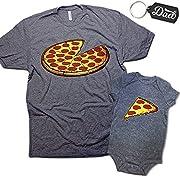 Funny Pizza Pie & Slice Infant Baby Bodysuit & T-Shirt Set Dad (Graphite) (6M & Small)