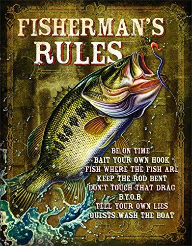 """Desperate Enterprises JQ - Fisherman's Rules Tin Sign, 12.5"""" W x 16"""" H"""