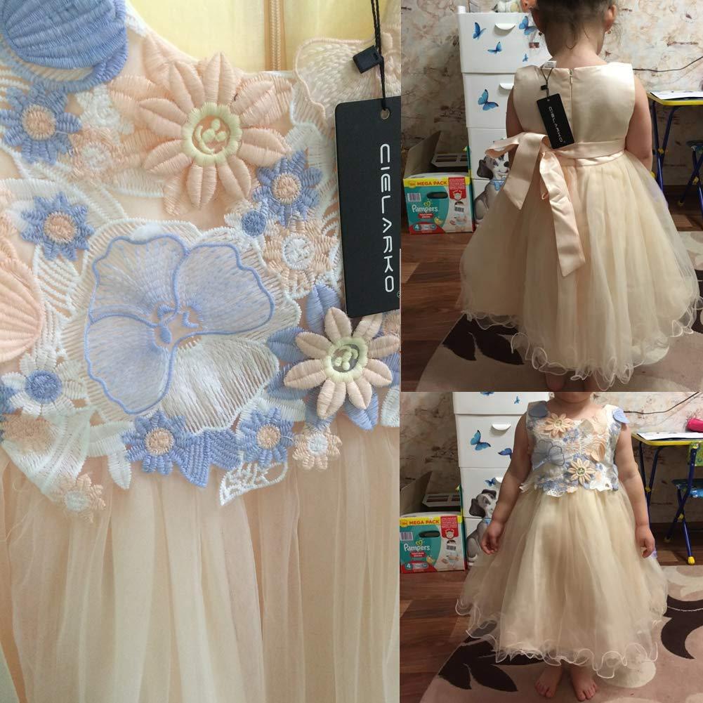 CIELARKO Vestito Bambina Principessa Fiore Farfalla Cerimonia Abiti 2-11 Anni