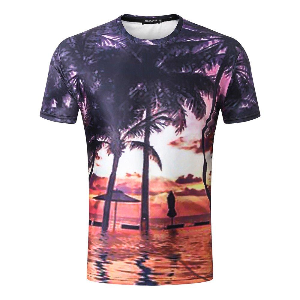 Youngii Mode T-Shirt Homme, Chic 3D imprimé Manches Courte Tops Décontractée Blouse Haut T-Shirts