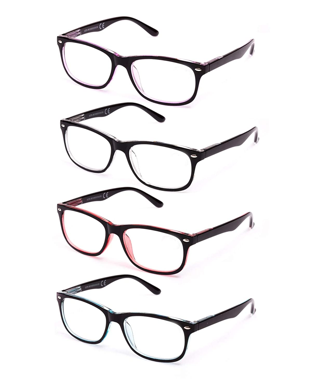 Gafas de Hombre y Mujer Unisex con Montura de Pasta Ver de Cerca +2.0 803 Para Leer Pack de 4 Gafas de Lectura Vista Cansada Presbicia Bisagras de Resorte