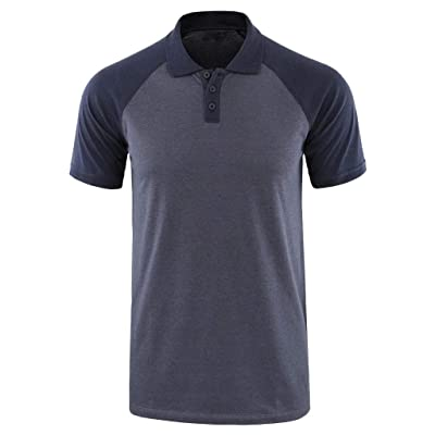 WINJUD Mens T Shirts Color Block Raglan Sleeve Henley Short Sleeve Button Turn-Down Collar Top at Men's Clothing store